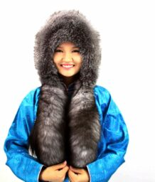 Mongolian Silver Fox Fur Girl Hat