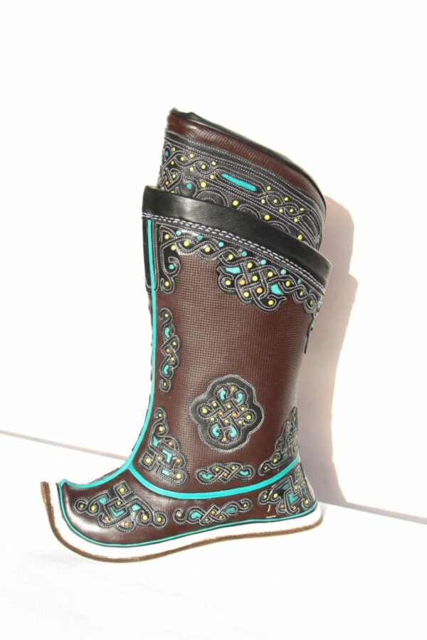 Mongolian brown boots from side