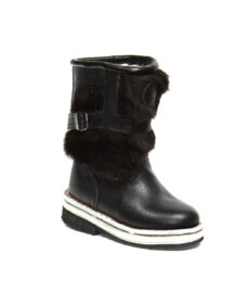 Kids Black Leather Boots M6