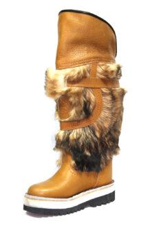 Long Yellow Fur Boots