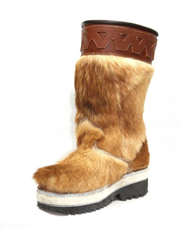 蒙古牛皮毛皮靴