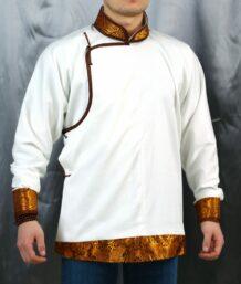 Mongolian Men Deel T-Shirt White Yellow trim