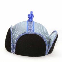 4 Side Blue Silk Velour Hat