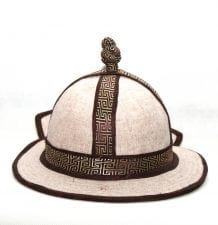 Mongolian Mens White Hat