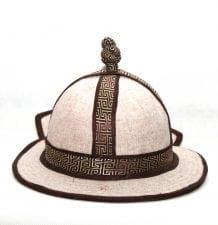 Mongolian Mens White Hat