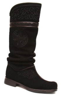 Mongolian Black Boots with Embroidery