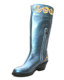Mongolian Blue Boots With Yellow Embroidery