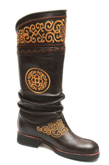 Mongolian Dark Brown Boots With Yellow Stitching 2