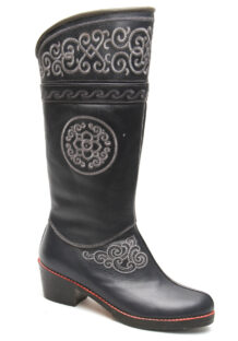 Mongolian Grey Boots With White Embroidery