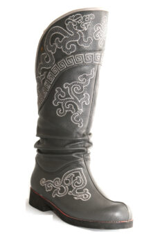 Mongolian Men Grey Boots With White Embroidery 2