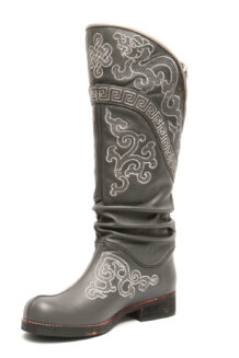 Mongolian Men Grey Boots With White Embroidery