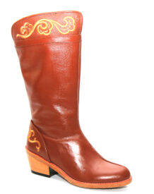 Mongolian Women Brown Boots With Yellow Embroidery 222