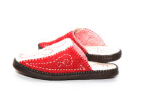 Red and White Felt Slippers 2