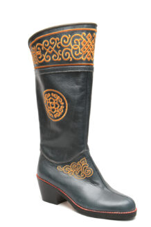 Women Blue Boots With Golden Embroidery
