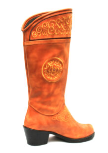 Women Chestnut Boots With Yellow Stitching