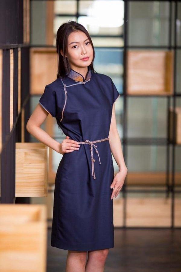 Dark Blue Mongolian Women's Dress 3