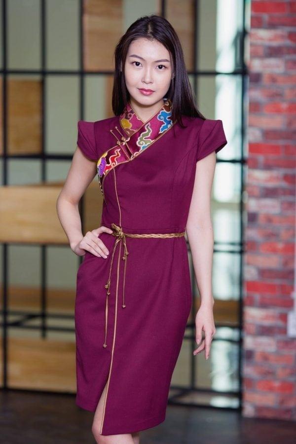 Maroon Mongolian Women's Dress