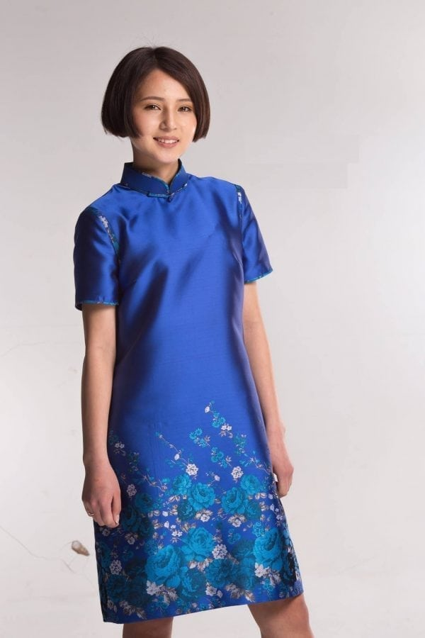 Blue Mongolian Women's Dress with Flowers