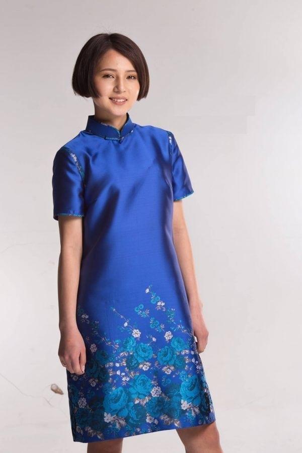Blue Mongolian Women's Dress with Flowers