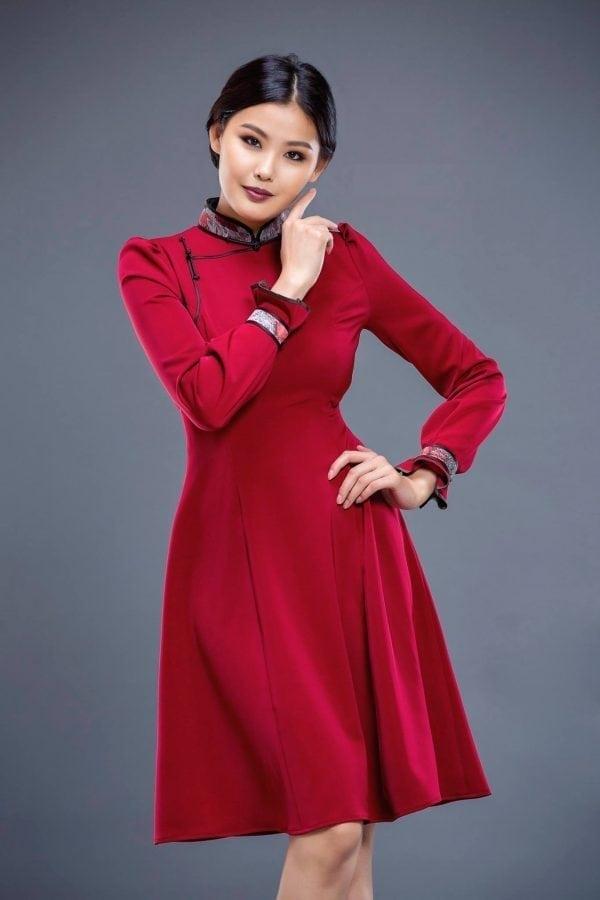 Red Mongolian Women's Dress