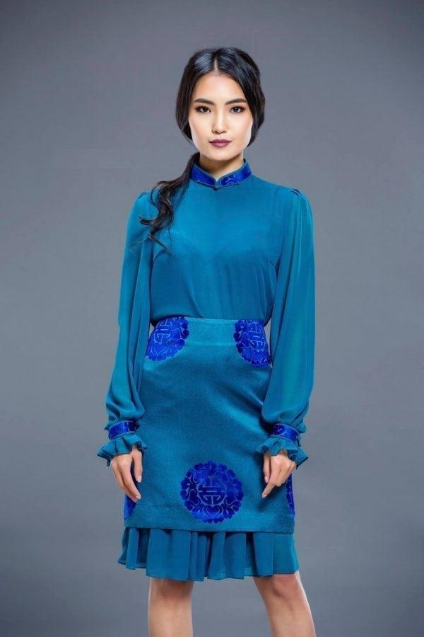 Water Blue Mongolian Women's Dress 2