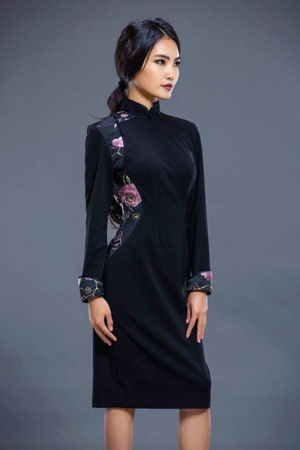 Black Mongolian Women's Dress with Flower