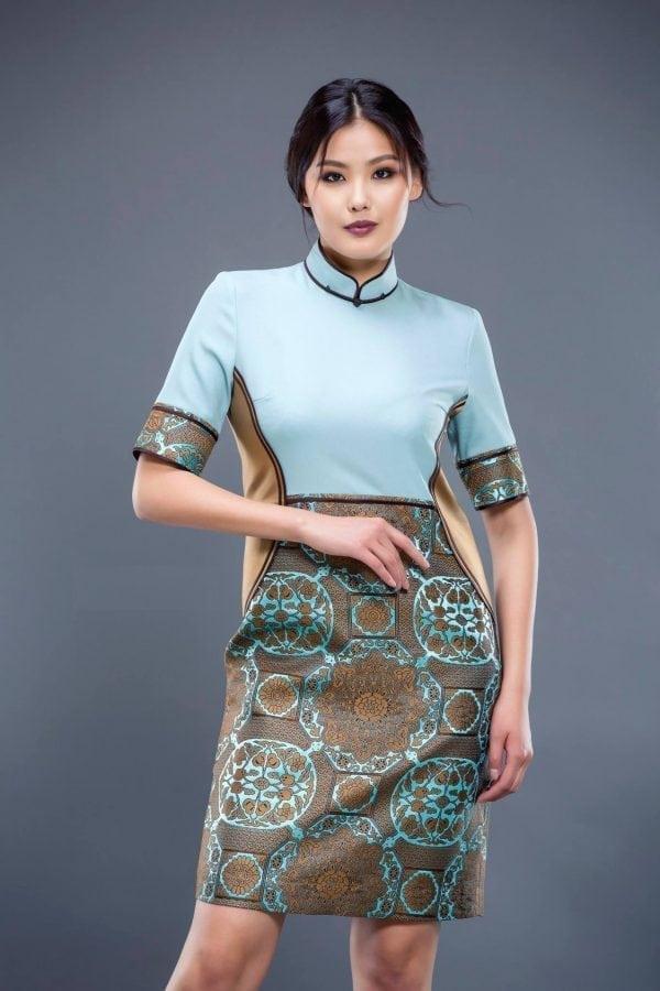 Water Green Mongolian Women's Dress 2