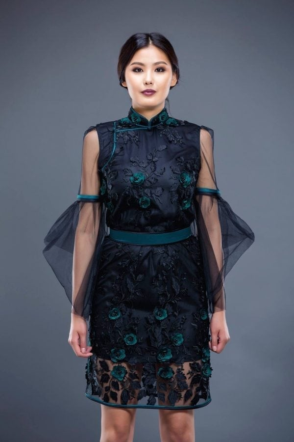 Dark Blue Mongolian Women's Dress with Flowers