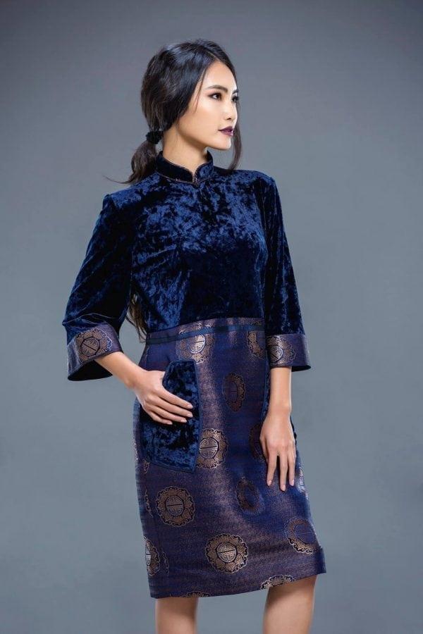 Dark Blue Mongolian Women's Dress 2