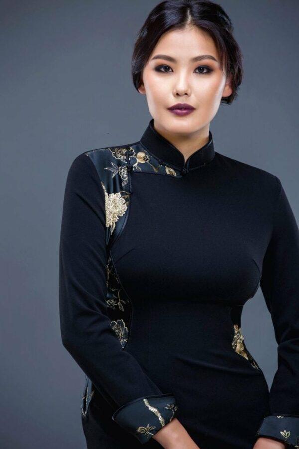 Black Mongolian Women's Dress 2