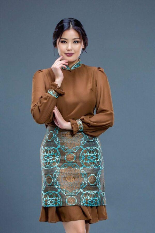 Brown Mongolian Women's Dress 2