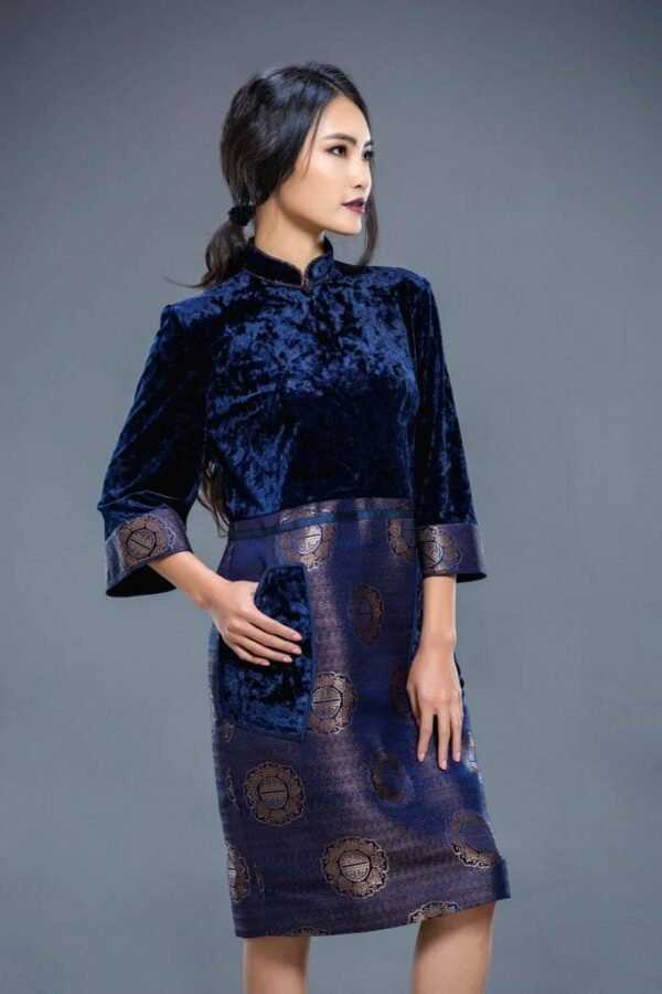 Dark Blue Mongolian Women's Dress 2