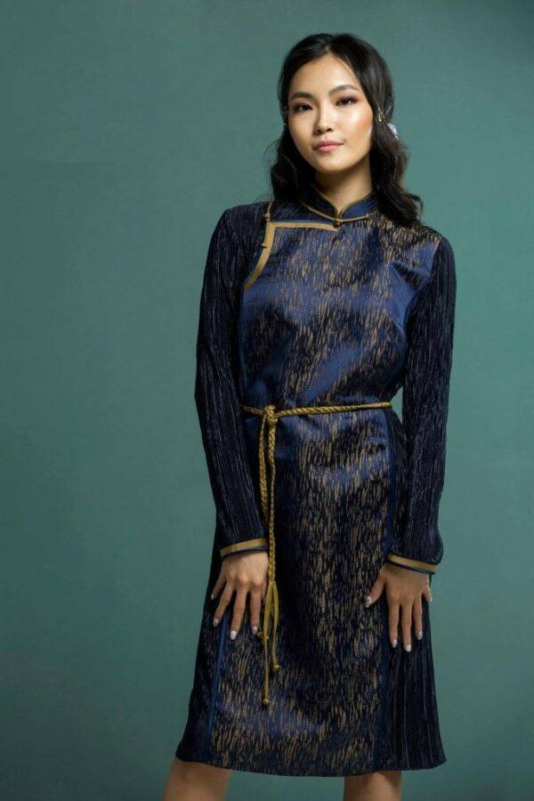 Dark Blue Mongolian Women's Dress