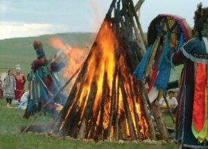Mongolian Shamans Worshipping the Sun and Moon