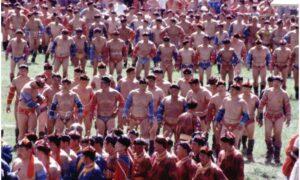 Mongolian Wrestlers in Naadam