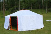 Looking from outside of Camping Yurt