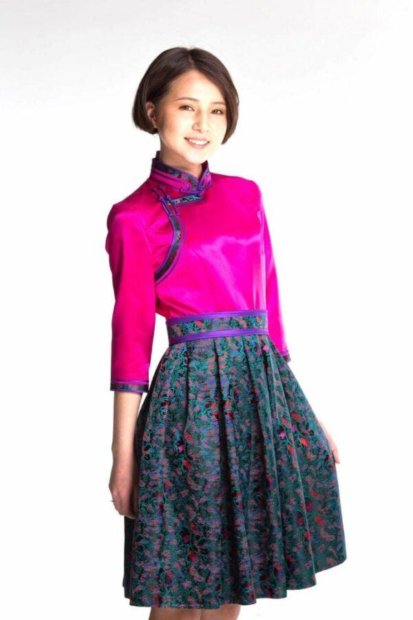 Pink Mongolian Women's Dress 2
