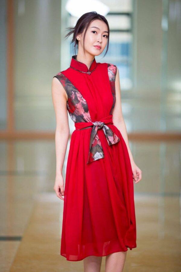 Red Mongolian Women's Dress 2