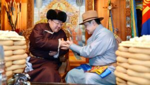 Mongolian Ex President Greeting with Prime Minister during Tsagaan Sar