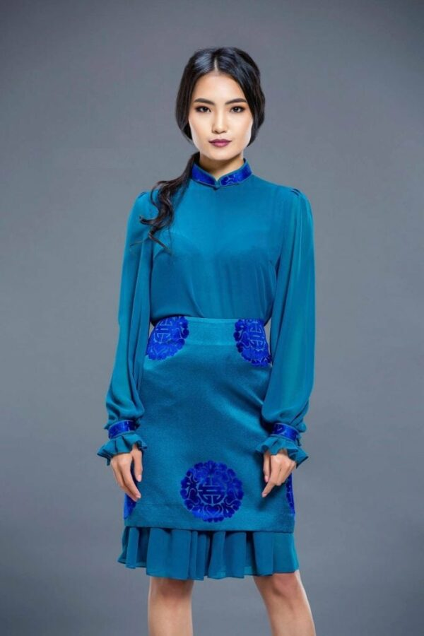 Water Blue Mongolian Women's Dress 2
