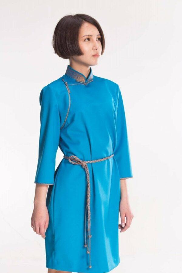 Water Blue Mongolian Women's Dress 3