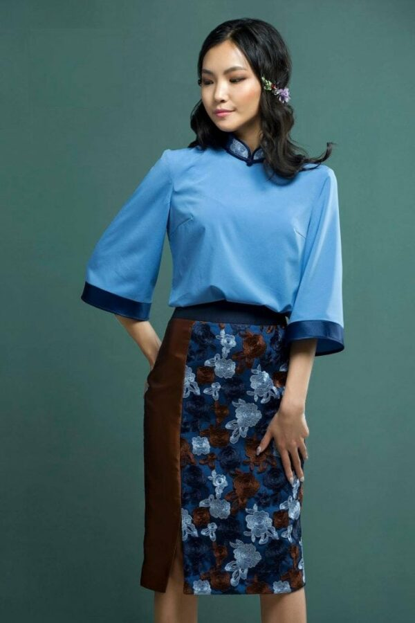 Water Blue Mongolian Women's Dress