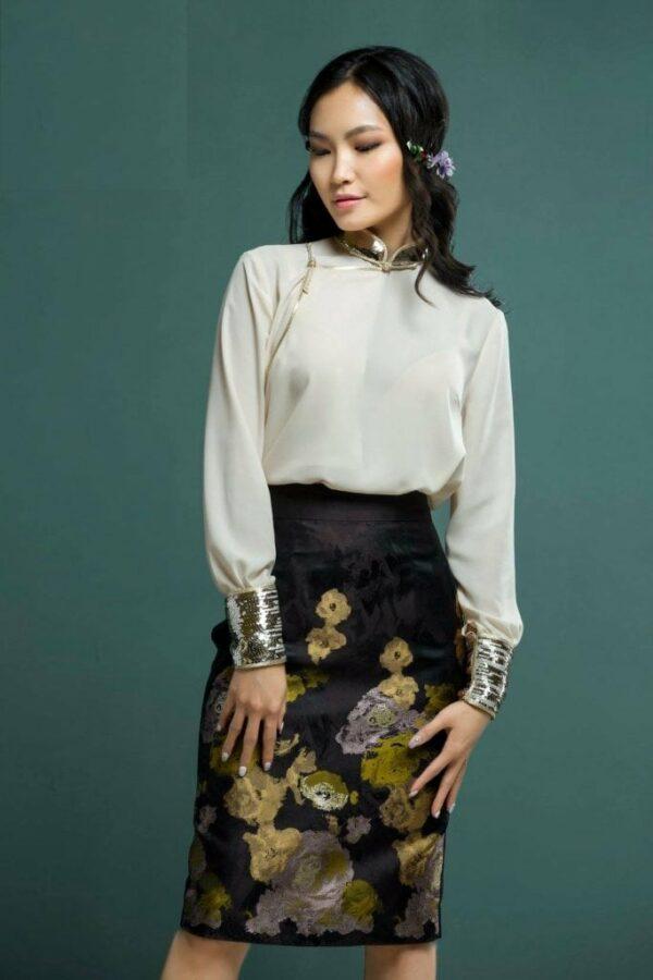 White Mongolian Women's Dress