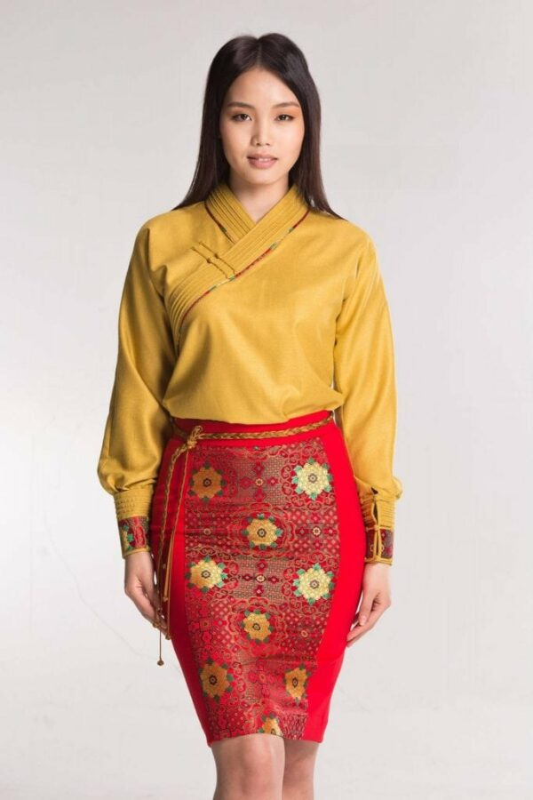 Yellow Mongolian Women's Dress