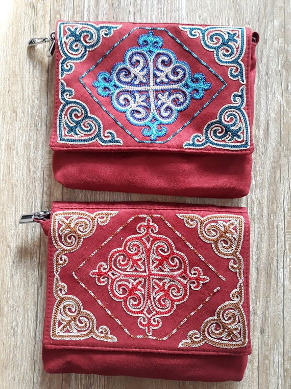 Embroidered Red Bags