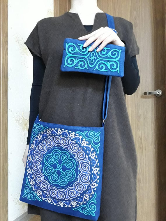 Embroidered Blue Bags