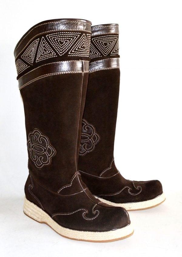 Dark Brown Mongolian Boots