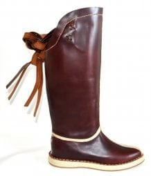 Right Side of Maroon Mongolian Boots