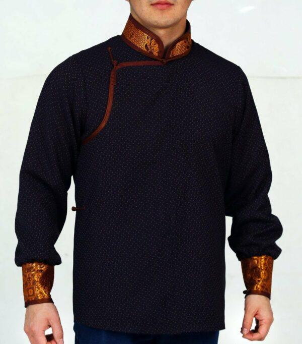 Black and Yellow Mongolian Deel Shirt