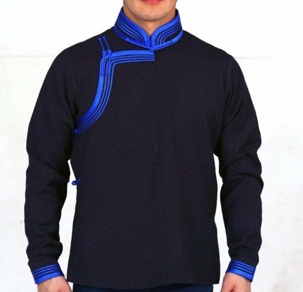 Black and Blue Mongolian Deel Shirt